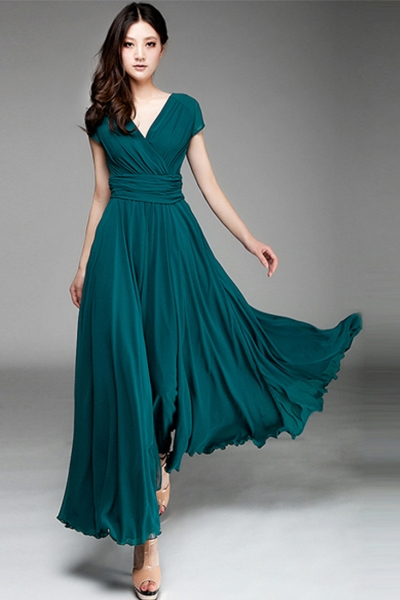 womenu0027s elegant fashion maxi surplice chiffon dress - oasap.com blqzvas