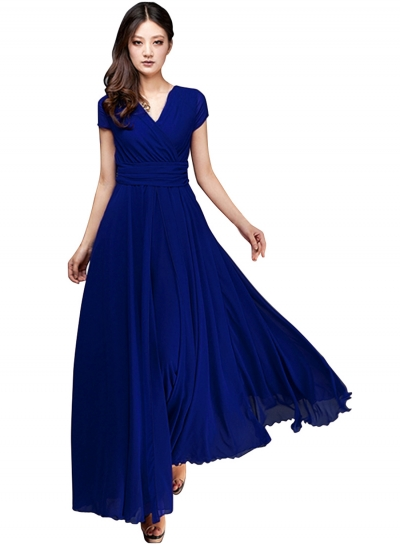 womenu0027s elegant fashion maxi surplice chiffon dress - oasap.com gbeiksq