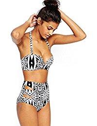 womens bathing suits walant womenu0027s halter geometric print high waisted swimsuit bathing suits  bikini pzmiqqb