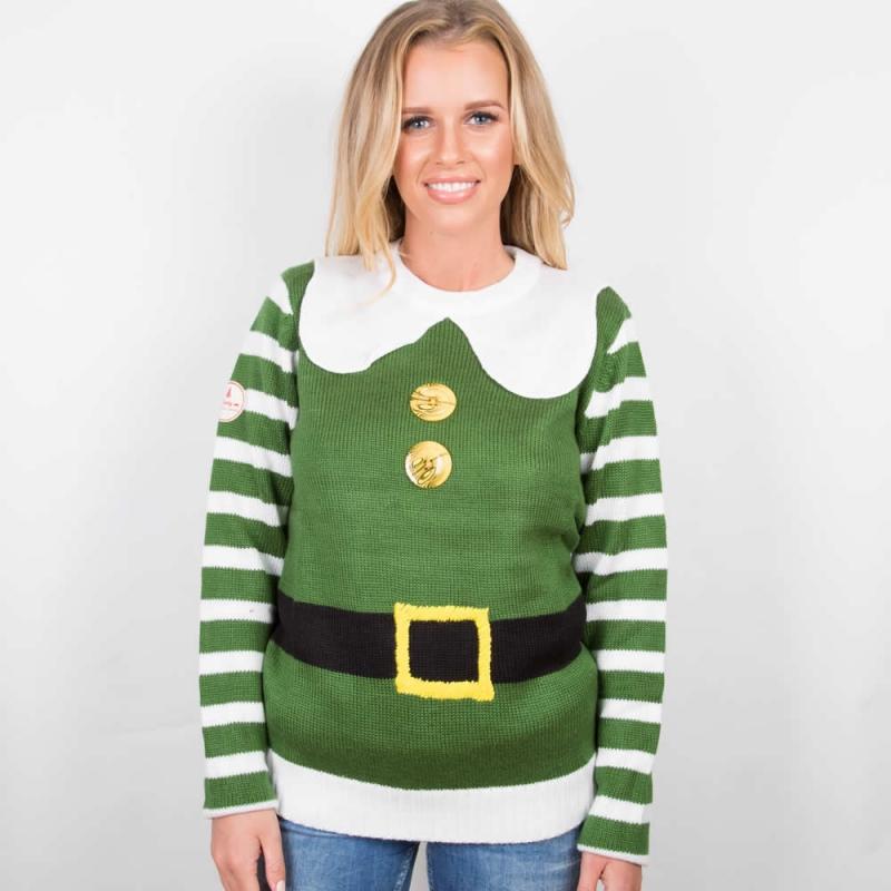 womens christmas jumpers funny elf christmas costume jumper; womenu0027s elf christmas costume jumper ... shtwogr