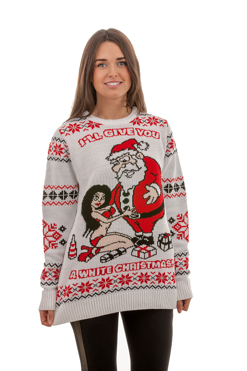 womens christmas jumpers ugly u0027white christmasu0027 sweater for women - front view ... snloovl