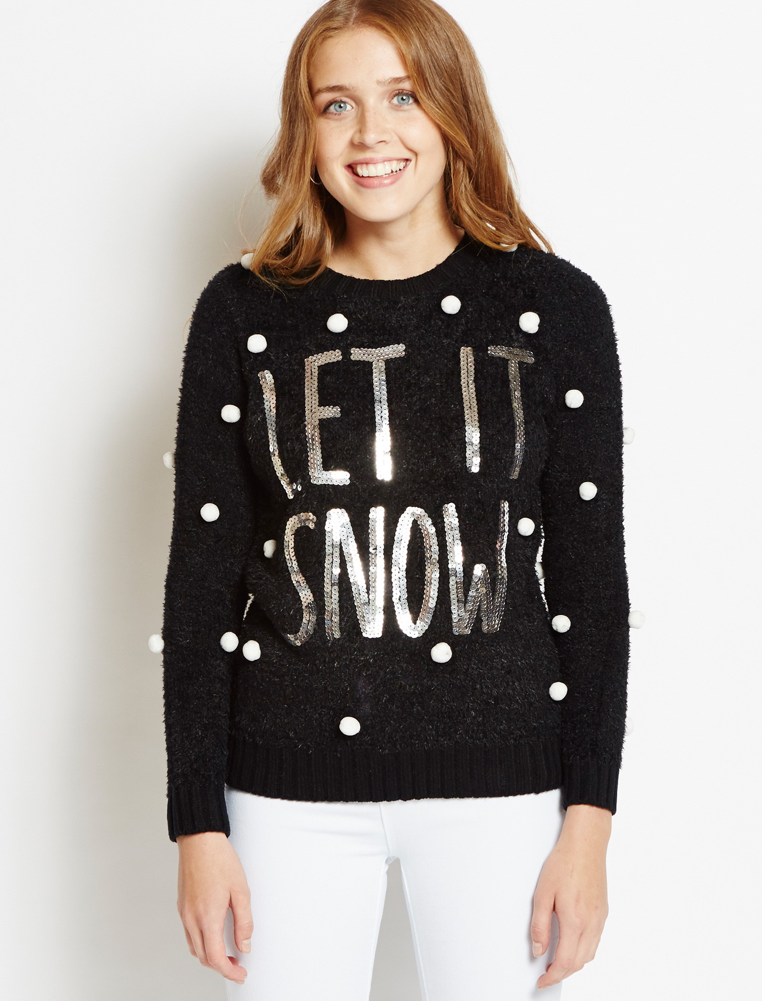 womens christmas jumpers womens merry christmas let it snow black jumper bfytowj