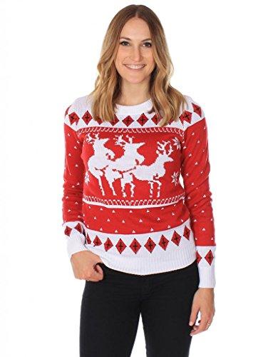 womens christmas sweaters amazon.com: womenu0027s ugly christmas sweater - the menage a trois reindeer  sweater btcrwvu
