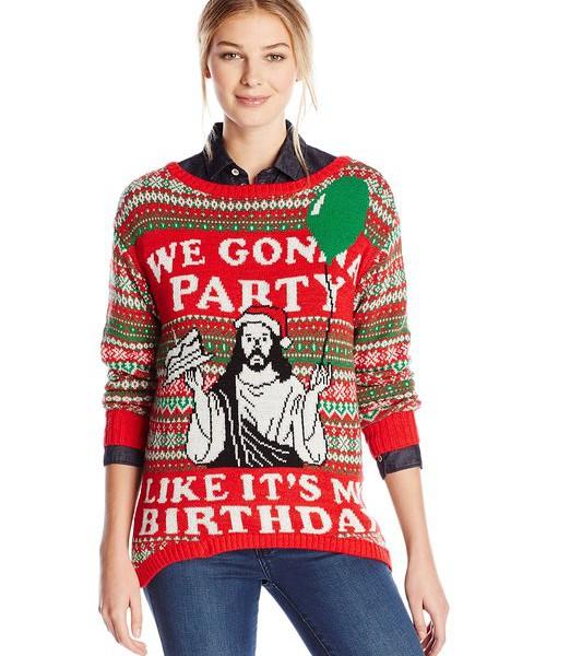womens christmas sweaters isabellau0027s closet womenu0027s u201cweu0027re gonna party like itu0027s my birthdayu201d holiday  sweater oarobfc