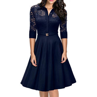 womens dresses kettymore women collar style slim waist halter skirt lace dress navy blue hkwahjg