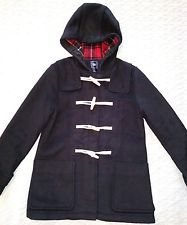 womens duffle coat gap womenu0027s s small black hooded duffle toggle coat red plaid lining wool lkpwaah
