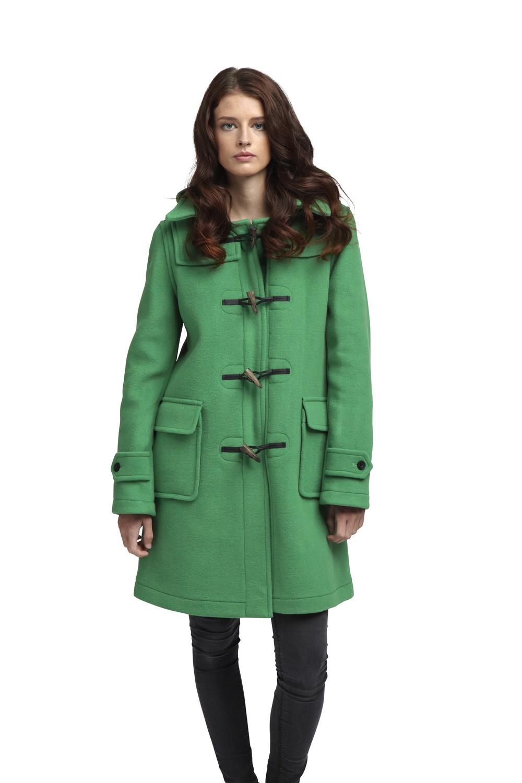 womens duffle coat womens london duffle coat -- green skfoksy