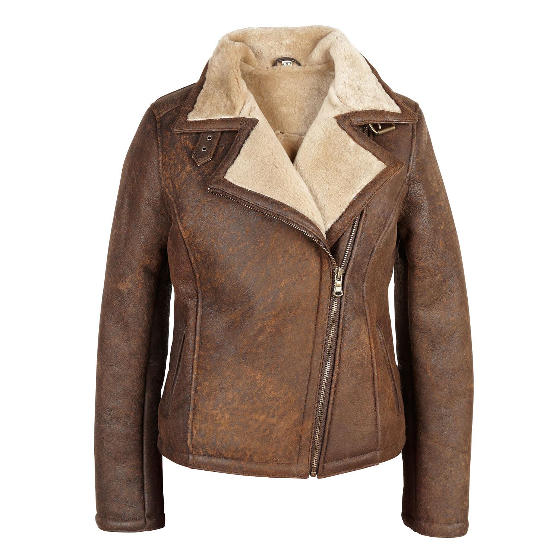 womens jacket ladies jackets amy: ladies sheepskin flying jacket wild rust smnghkh nntxkgj