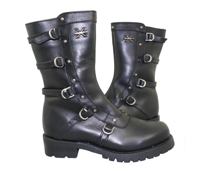 womens motorcycle boots xelement 2510 u0027sirenu0027 womenu0027s black strap motorcycle boots - leatherup.com hzqjxvn