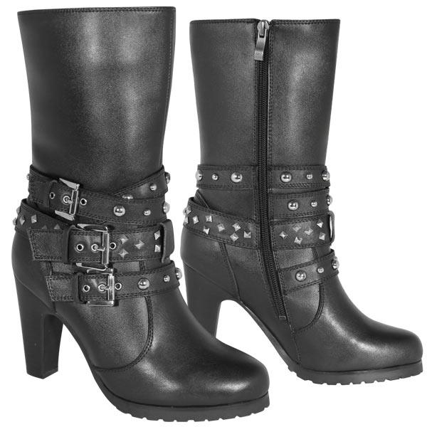 womens motorcycle boots xelement lu8006 womenu0027s black 3-buckle motorcycle boots aawnlid