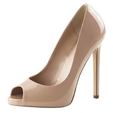 womens nude high heels peep toe pumps platform shoes dress stiletto 5 inch yfmmtol
