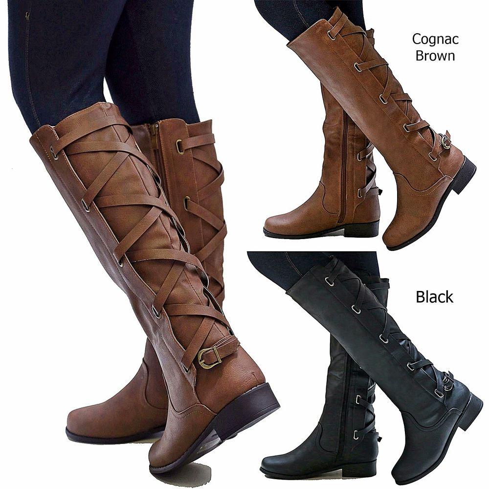 womens riding boots new women gc1 cognac brown black buckle riding knee high cowboy boots kxftxil