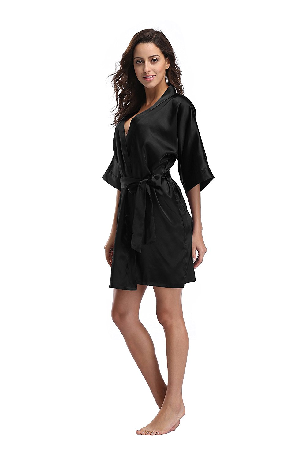 womens robes luvrobes womenu0027s satin kimono robe, solid color, short sjwqviu