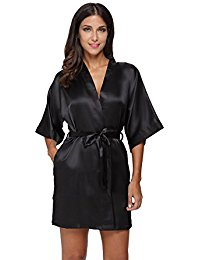 womens robes the bund womenu0027s pure colour short satin kimono robes with oblique v-neck utwxmcf