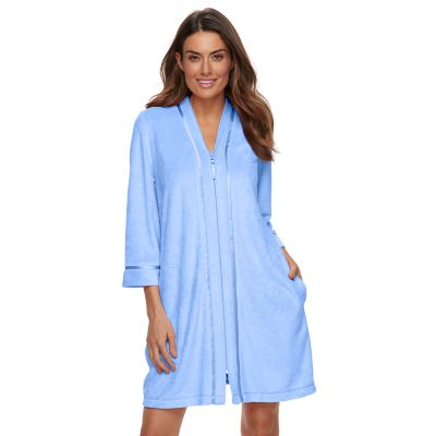 womens robes womenu0027s croft u0026 barrow® zip-front wicking terry robe zuxrjil