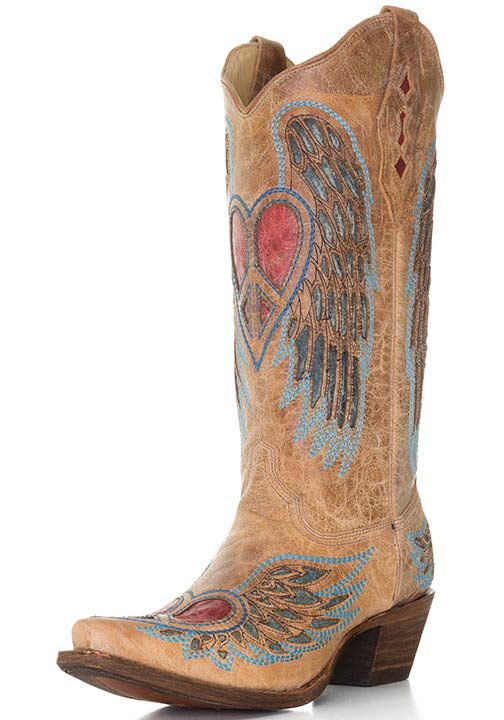 womens western boots corral womenu0027s western boots with winged peace hearts - saddle/blue/red fkeoxuc