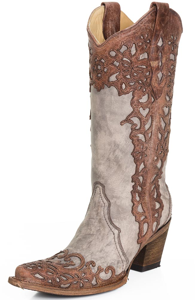 womens western boots corral womens laser overlay cowboy boots - cognac/sand ifjryth