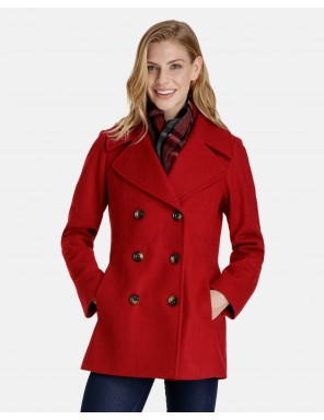 wool coats for women quinn double breasted wool pea coat with plaid scarf edaqcrb