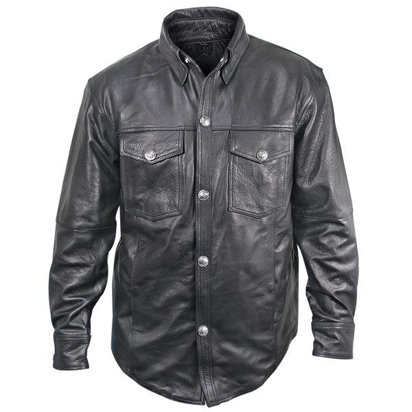 xelement xs908b menu0027s black leather shirt with buffalo buttons -  leatherup.com mfpjhzo