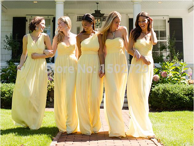 yellow bridesmaid dresses spring 2017 light yellow junior bridesmaid dresses chiffon mixed style  vestidos para tsounca