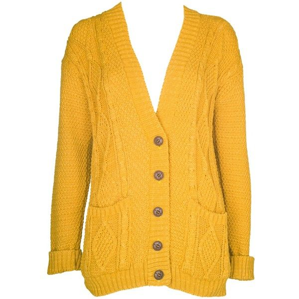 yellow cardigan mustard chunky knit boyfriend cardigan (£12) ❤ liked on polyvore featuring  tops, gaumchg