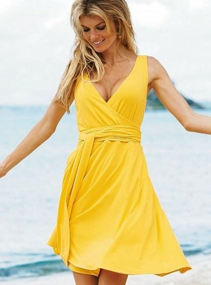 yellow sundress. victoria secret. ajbyjed
