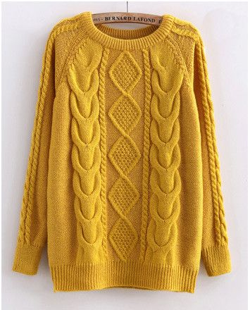 yellow sweater cabled sweater in yellow hfhecle