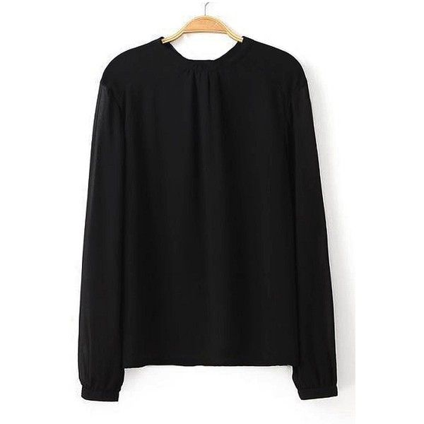 yoins black chiffon blouse with open back and tie ($14) ❤ liked on nttemlz